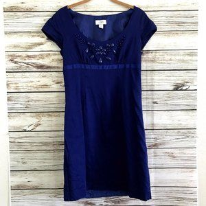 Ann Taylor Loft Beaded Short Sleeve Blue Dress
